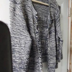Black and white fringe sweater